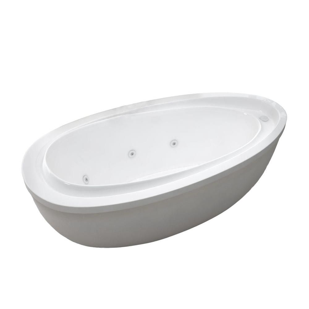 Mystic 5 Feet 11-Inch Acrylic Oval Freestanding Whirlpool Bathtub in White